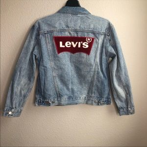 Levis ex boyfriend trucker logo denim jacket